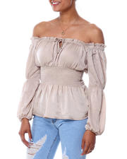 Almost Famous - Smocked Waist Peasant Top-2466004