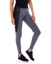 Fashion Lab - EXPOSE ELASTIC WAIST BAND ACTIVE LEGGING W/SHINY PU KNIT VERTICAL LEG INSERT & REAR KNEE MESH INSERT-2466091