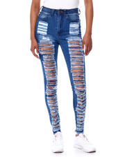 Jeans - High Waist Shredded Back & Front Skinny Jean-2466135