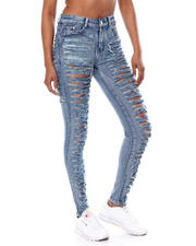 Bottoms - SLIT DESTRUCTED BACK & FRONT HIGH WAIST JEAN-2466428