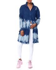 Fashion Tops - BLEACHED DESTRUCTED 2 POCKET RAW EDGE DENIM DUSTER-2466873