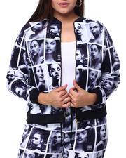 Outerwear - Black & White Face Print Zipper Front Jacket-2462265