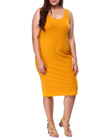 DEREK HEART - Double Scoop Neck Bodycon Midi Tank Dress(Plus)