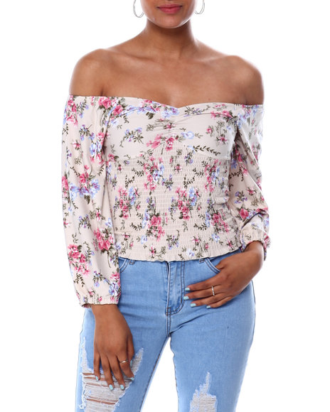 Almost Famous - Off The Shoulder Cinched Frt Smocked Bodice Top
