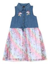 Girls - Denim Top Dress W/ Tulle Skirt (7-16)-2466854