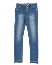 Girls - Neon Snap Fly Skinny Jeans (7-16)-2467074