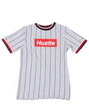Tops - Pinstripe Ringer T-Shirt W/ Hustle Box Logo (8-18)-2467087