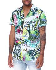 Spring-Summer-M - Tropical Plant Print Button down Shirt-2467844