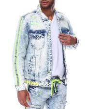 SMOKE RISE - Neon Stripe Denim Jacket-2467909