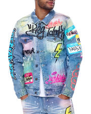 SMOKE RISE - Airbrush Denim Jacket w Chenille Patches-2467942