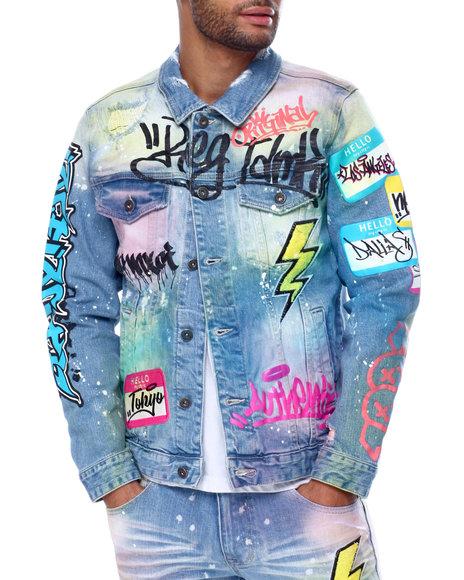 SMOKE RISE - Airbrush Denim Jacket w Chenille Patches