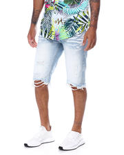 SMOKE RISE - Basic Distressed Denim Short-2468057