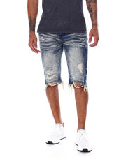 SMOKE RISE - Basic Distressed Denim Short-2468089