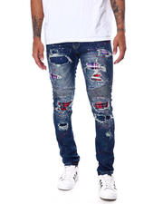 SMOKE RISE - Plaid Ripped Jean-2468209