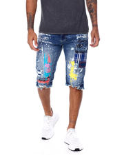 SMOKE RISE - Color Paint Splatter Denim Short-2468270