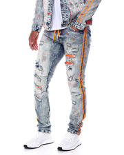SMOKE RISE - Neon Stripe Jean w Shoe lace Detail-2468279
