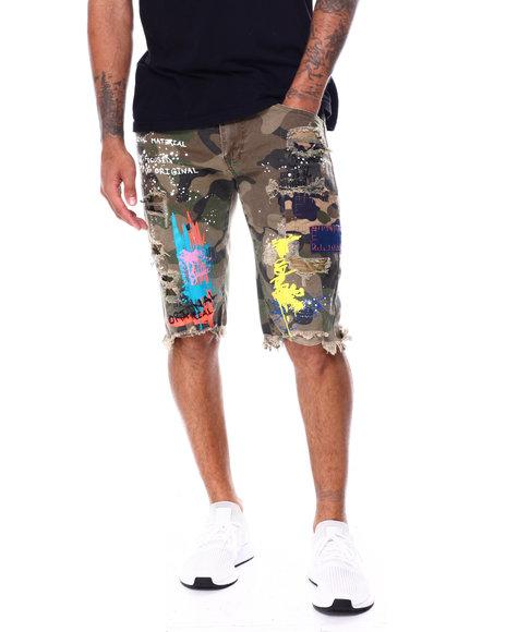 SMOKE RISE - Color Paint Splatter Camo Short