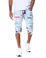 SMOKE RISE - Neon Denim Drawstring Short-2468303