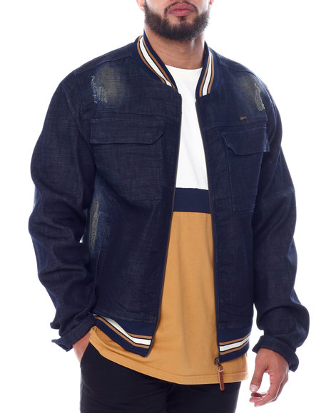 A Tiziano - Terry Distressed Denim Bomber Jacket (B&T)