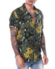 Shirts - Olive Cheetah Print SS Buttondown Shirt-2468734