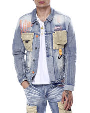 SMOKE RISE - Utility Pocket Denim Jacket-2468759