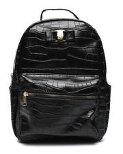 Fashion Lab - Croco Midi Backpack W/ Logo Bow-2468329
