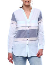 Fashion Tops - ROLL CUFF 2 POCKET Y NECK COLLAR HORIZONTAL STRIPE-2468399