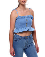 Fashion Tops - Spaghetti Tie Strap Ruffle Smocked Front Button Tank-2469444