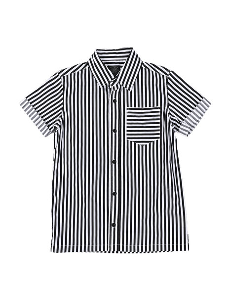 Buffalo - Striped Roll Sleeve Twill Button Down Shirt (8-20)