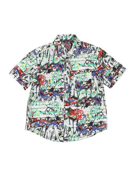 Arcade Styles - Graffiti Print Woven Shirt (8-18)