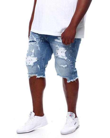 SMOKE RISE - Distressed & Bleached Denim Cut Off Shorts (B&T)