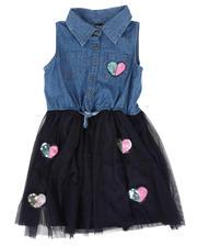 Girls - Denim Top Dress W/ Tulle Skirt & Sequin Applique (4-6X)-2469661
