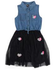 Dresses - Denim Top Dress W/ Tulle Skirt & Sequin Applique (7-16)-2469665