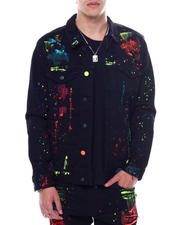 SMOKE RISE - Neon Paint Splatter Denim Jacket-2467933