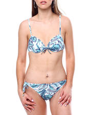 Swimwear - Ruffle Neck Line Padded Push Up Cup Top Ruffle Tie Sides Bikini Bottom-2470932