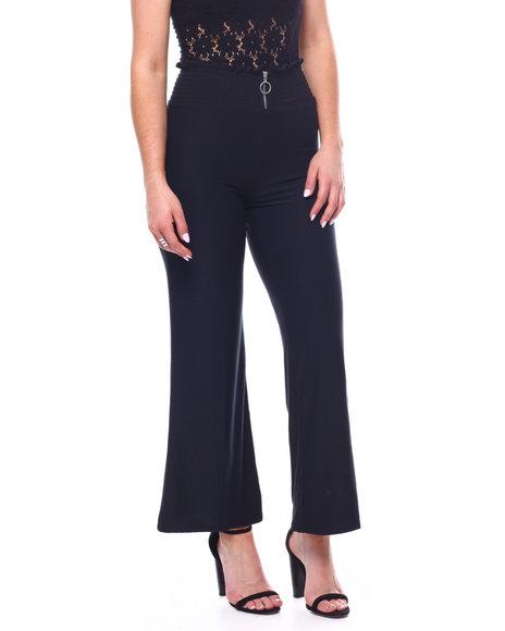 DEREK HEART - Brushed Smocked Zip Front Pant