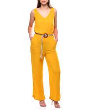 DEREK HEART - Crinkle S/L Vnk Jumpsuit W/Dbl Rope Belt-2471150