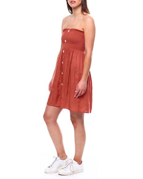 DEREK HEART - Smocked Bodice Dress W/Shell Buttons