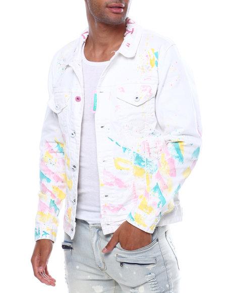 SMOKE RISE - Paint Splatter Denim Jacket