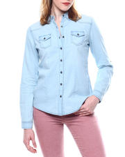 Fashion Lab - L/S Denim Roll Sleeve Button Down Shirt-2468414