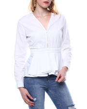 Fashion Lab - LONG SLEEVE HIGH LOW HEM BLOUSE-2468339