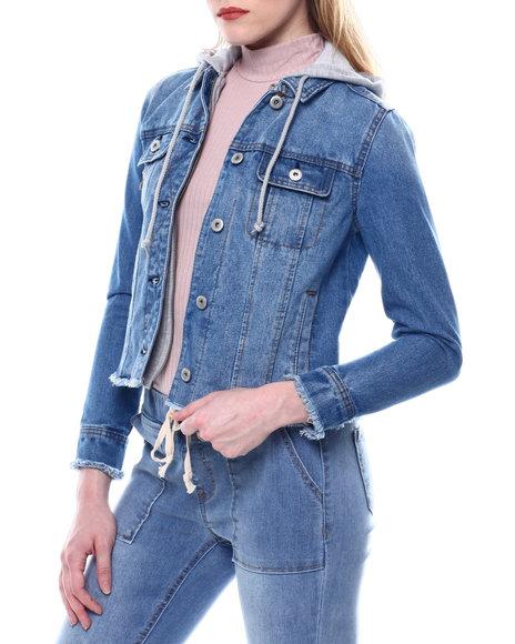 Fashion Lab - FRAY HEM DENIM JACKET W/FLEECE HOOD