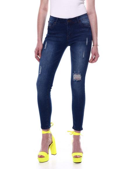 Fashion Lab - Mid High Waist Distressed Skinny Jean