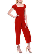 Womens-Holiday - Smocked Bodice Puff Slv Jumpsuit-2471726