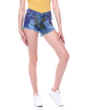 Fashion Lab - Brushed Paint Raw Edge Denim Short-2471806