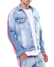 DJPremium - Distressed Side Stripe Denim Jacket-Ice Blue-2472163