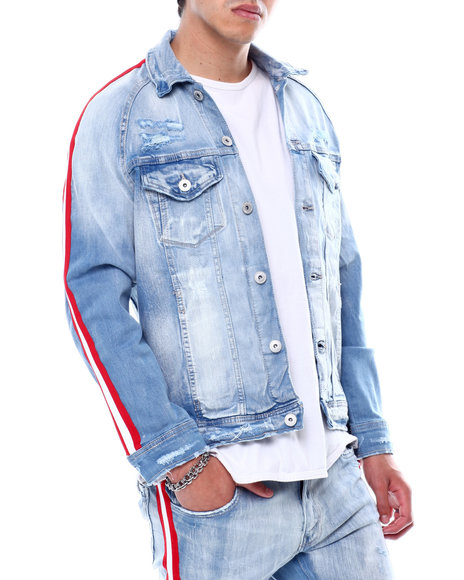Jordan Craig - Distressed Side Stripe Denim Jacket-Ice Blue