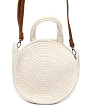 Women - Variegated Round Straw Bag W/ Strap-2469758