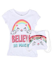 Sizes 7-20 - Big Kids - Believe In Magic Glitter Tee W/ Flip Sequin Drawstring Backpack (7-16)-2469070