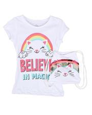 La Galleria - Believe In Magic Glitter Tee W/ Flip Sequin Drawstring Backpack (7-16)-2469070